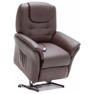 Modern Recliner in Bonded Leather, Padded Seat, Brown