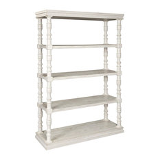 Traditional Bookcase Carved Support Columns With 4 Open Shelves