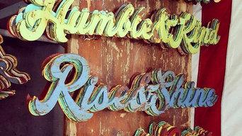 Steel painted, rusty words