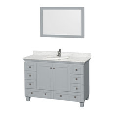 "Acclaim 48"" Single Vanity, Oyster Gray, White Carrera Marble Top, Square Sink"