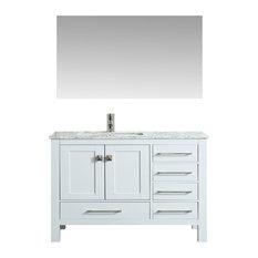 Eviva London 42 In. Transitional Gray  Vanity  White Carrara Marble Countertop