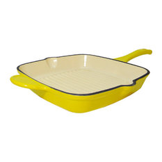 Le Chef Enamel Cast Iron Square Grill Pan, Lemon Yellow
