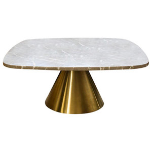 Oscar Small Square Coffee Table, Brown Marble, Brass Base