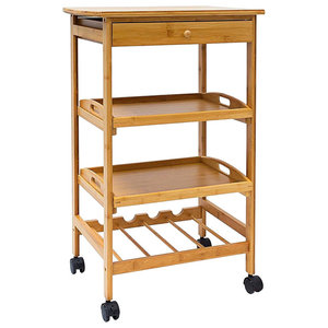 Modern Serving Trolley Cart, Bamboo Wood With 3 Open Shelves and Wine Rack