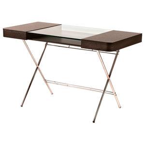Cosimo Gold Glass Top Desk, Wenge Oak Veneer Drawers