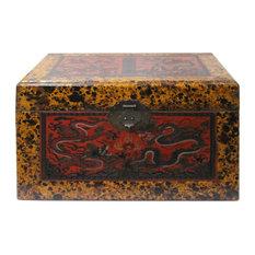 Chinese Distressed Yellow Red Dragon Graphic Rectangular Box Hcs4562