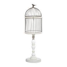 White Wood Farmhouse Birdcage, 44x14x14