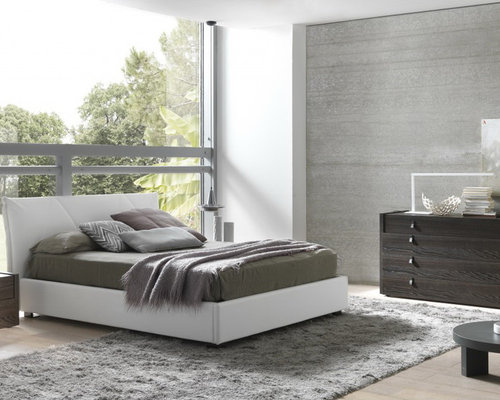 Esprit Modern Eco Leather Bedroom Set In Espresso / White   Bedroom  Furniture Sets