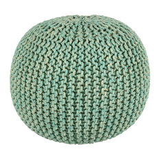 "2-Tone 16"" Cotton Rope Pouf, Blue"