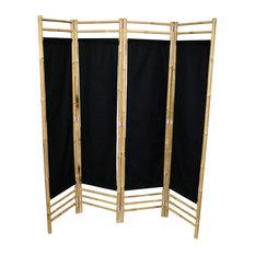 Bamboo 4-Panel Screen, Black Canvas