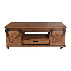 Presley 2 Door With Drawer Coffee Table, Natural Brown