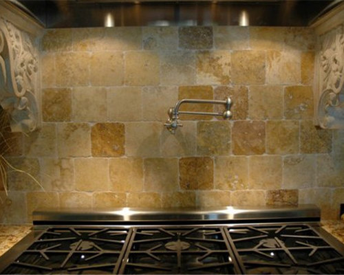 Kitchen Hoods Carved in Mediterranean Limestone - Range Hoods And Vents