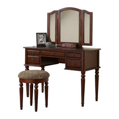 Pdx   3 Piece Bedroom Vanity Set, Table, Mirror, Stool, Cherry