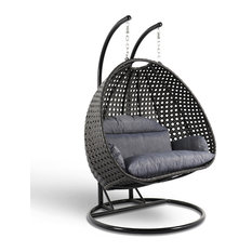 LeisureMod Modern 2 Person Wicker Double Hanging Egg Swing Chair, Charcoal Blue