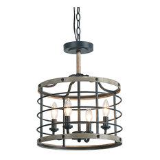 LNC 4-Light Mini Pendants Cage Drum Chandelier Transitional Lighting