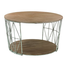 Sterling   Sterling Industries Round Wood And Metal Coffee Table   Coffee  Tables