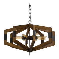 Varna 8 Light Chandelier in Pine Wood