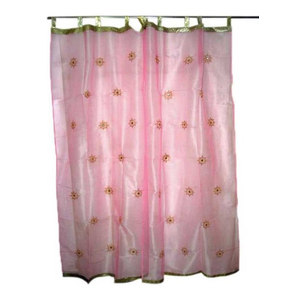 Mogul Interior - Sheer Organza Curtains Mirror Embroidered Window Panels, Pink, Set of 2 - Curtains