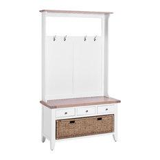 3-Drawer Hallway Bench, Pure White