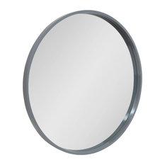 """Travis Round Wood Accent Wall Mirror , Gray 31.5"""" Diameter"""