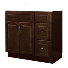 "JSI - JSI Quincy 36"" 2-Door Espresso Finish Vanity With 2 Right Drawers, Cabinet Only - Bathroom Vanities and Sink Consoles"