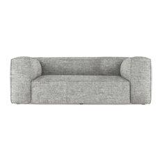 Varick 7' Crushed Velvet Sofa Silver Streak Extra Deep