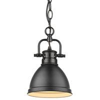 1-Light Black Mini Pendant With Matte Black Shade