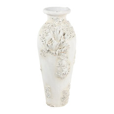 """Large Floor Vase With Coral Nautical D�cor 13""""x 32.5"""""""