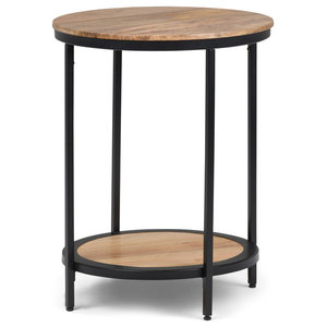 Jenna Round Natural Side Table With Mango Wood Tabletop
