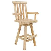 Sunnydaze Rustic Bar Stool - Log-Style - Unfinished Wood Construction - 4-Foot