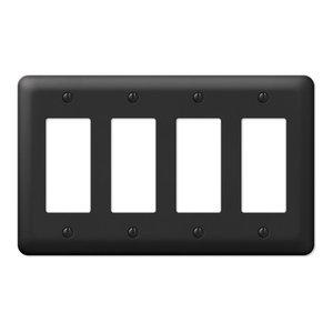 Devon Steel 4-Rocker Wall Plate, Black