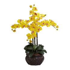 Phalaenopsis With Decorative Vase Silk Flower Arrangement