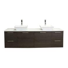 "Eviva Luxury Bathroom Vanity With Top, Gray Oak, 72"""