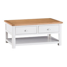 Portland Painted Oak Coffee Table With Drawer, White