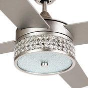Modern Crystal Ceiling Fan With Remote Control,  Satin Nickel