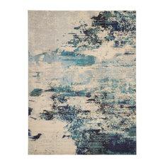 Nourison Celestial Contemporary Area Rug, Ivory/Teal Blue, 10'x14'