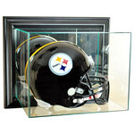 Perfect Cases, Inc. - Wall Mounted Football Helmet Display Case, Black - This uniquely designed wall mounted display case is the perfect way to protect and display your autographed football helmet.   This case is made so that the top hinges open for easy access inside.  This display case is made with UV Protected, double strength glass and mirror and accented with real wood moulding.  This display case is made with mirror on the back to enhance the look of what you want displayed.  We also use no acids in our display cases to prevent signature fading.
