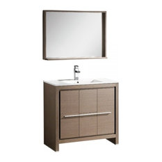 "Fresca Allier 36"" Gray Oak Modern Bathroom Vanity With Mirror"