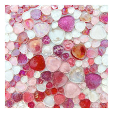 Iridescent Glitter Pebble Glass Mosaic Tile, Pink