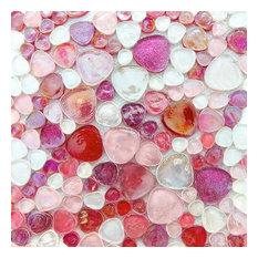 Iridescent Glitter Pebble Glass Mosaic Tile, Pink