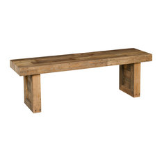 """Norman Reclaimed Pine 55"""" Distressed Bench by Kosas Home, Natural Multitone"""