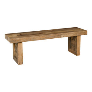 "Norman Reclaimed Pine 55"" Distressed Bench by Kosas Home, Natural Multitone"