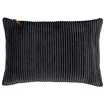 Company C - Breckenridge Pillow, Black, 14x20 - Inspired by the deep earth tones of the Arizona desert, Breckenridge comes in a myriad of glorious saturated colors, inviting you to make a cozy mountain of pillows to relax on. Super-soft-wide-wale corduroy encases a luxurious down and feather insert. The exposed zipper on the top of the pillow has a soft leather pull tab to complete the casual look.