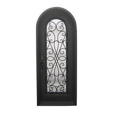 "Amorosa 39""x96"" Wrought Iron Door, 6"" Jamb, Aged Bronze Patina, Right Hand"