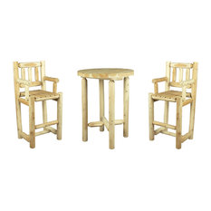 Wooden High Bar Table and Chairs, 3-Piece Set