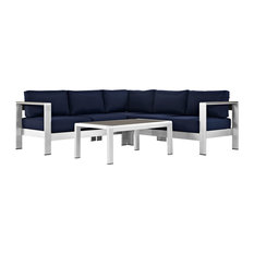 LexMod - Shore 4-Piece Outdoor Aluminum Sectional Sofa Set, Silver Navy - Outdoor Lounge Sets