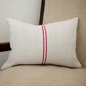 Red Stripe Grain Sack Pillow