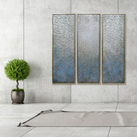 Silver Ice Textured Metallic Hand Painted Abstract Wall Art Set of 3