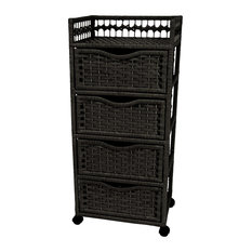 38-inch Natural Fiber Chest Of Drawers On Wheels Black
