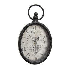 Stratton Home Decor Antique Black Oval Wall Clock